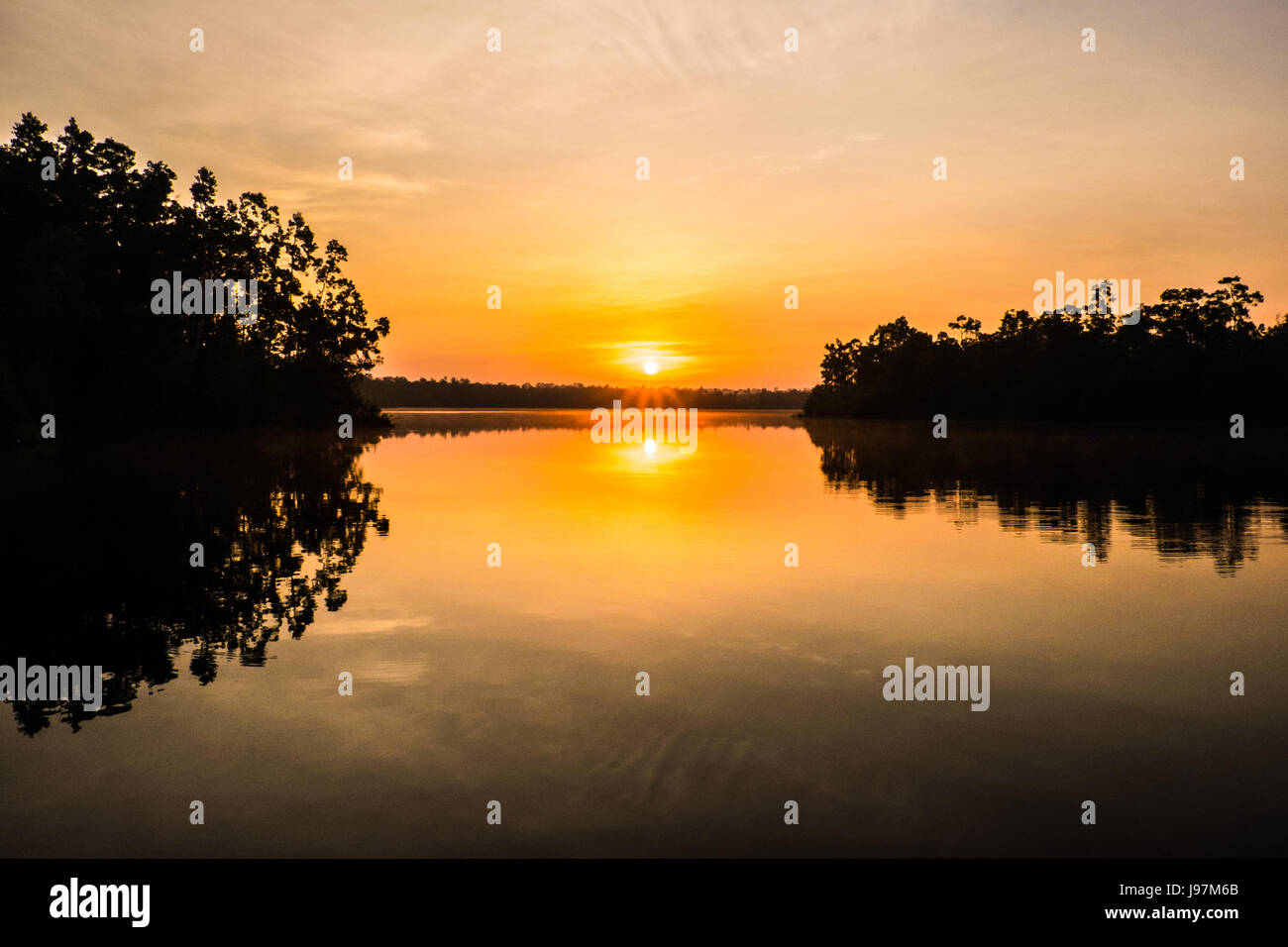 Sunset at Lake Sentarum in the Heart of Borneo, west Kalimantan, Indonesia. - Stock Image