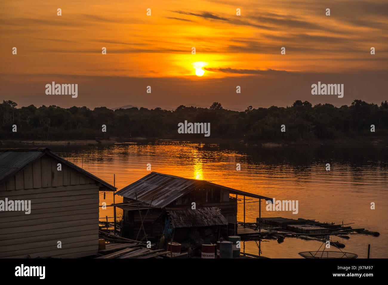 Warm sunset in Lake Sentarum in the Heart Of Borneo, Kalimantan Indonesia. - Stock Image