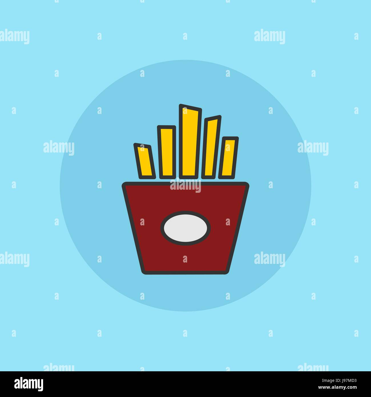 Fries potatoes simple flat vector illustration icon. - Stock Vector