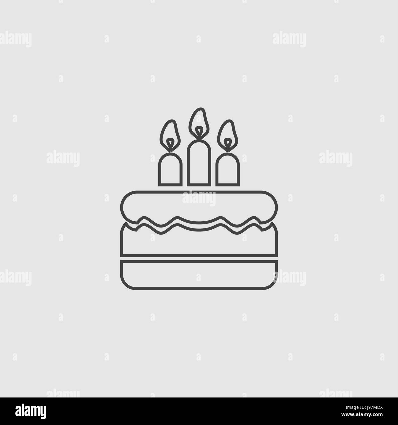 Awesome Birthday Cake Vector Sign Flat Illustration Icon Stock Vector Art Funny Birthday Cards Online Inifofree Goldxyz