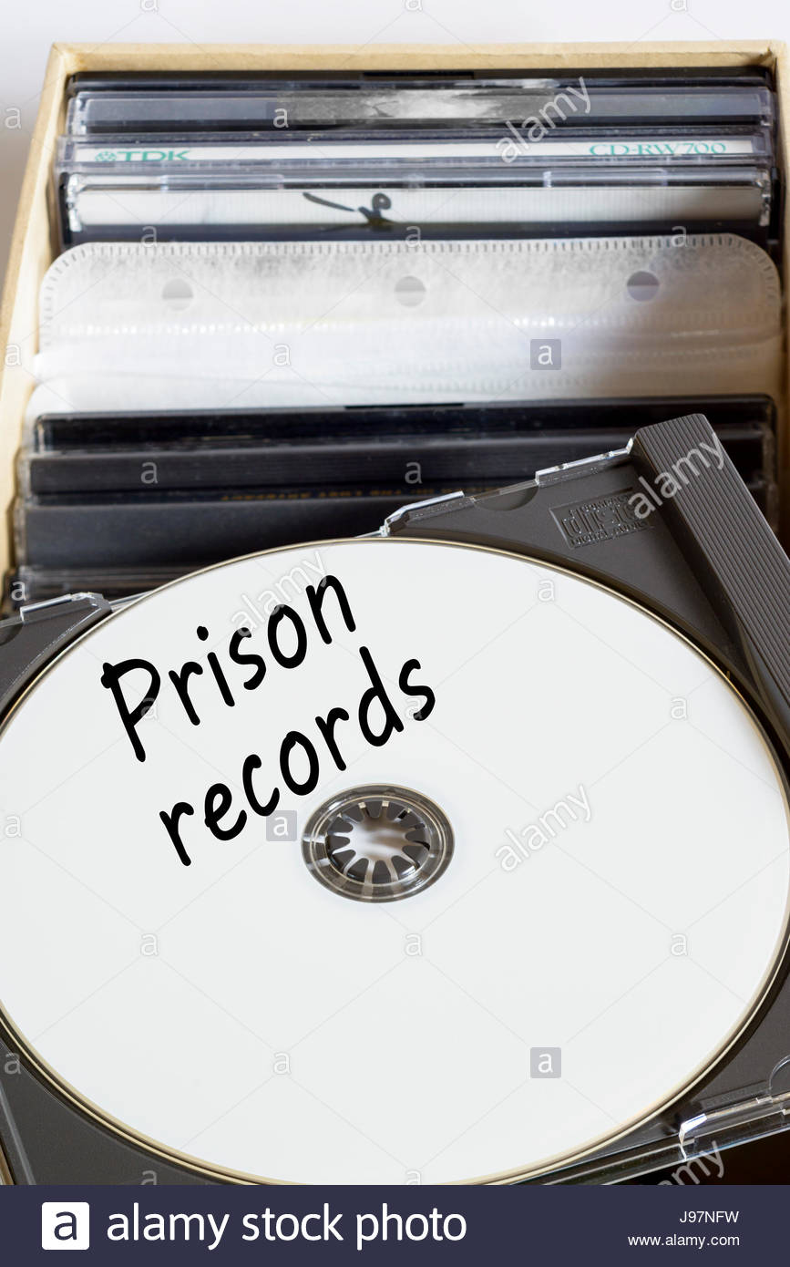 Prison records, box of computer discs, England, UK - Stock Image
