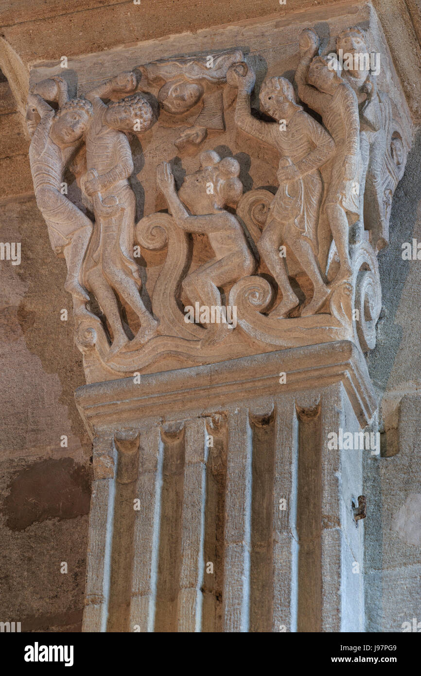 France, Saone et Loire, Autun,Saint Lazare Cathedral, capital, the stoning of Saint Etienne - Stock Image
