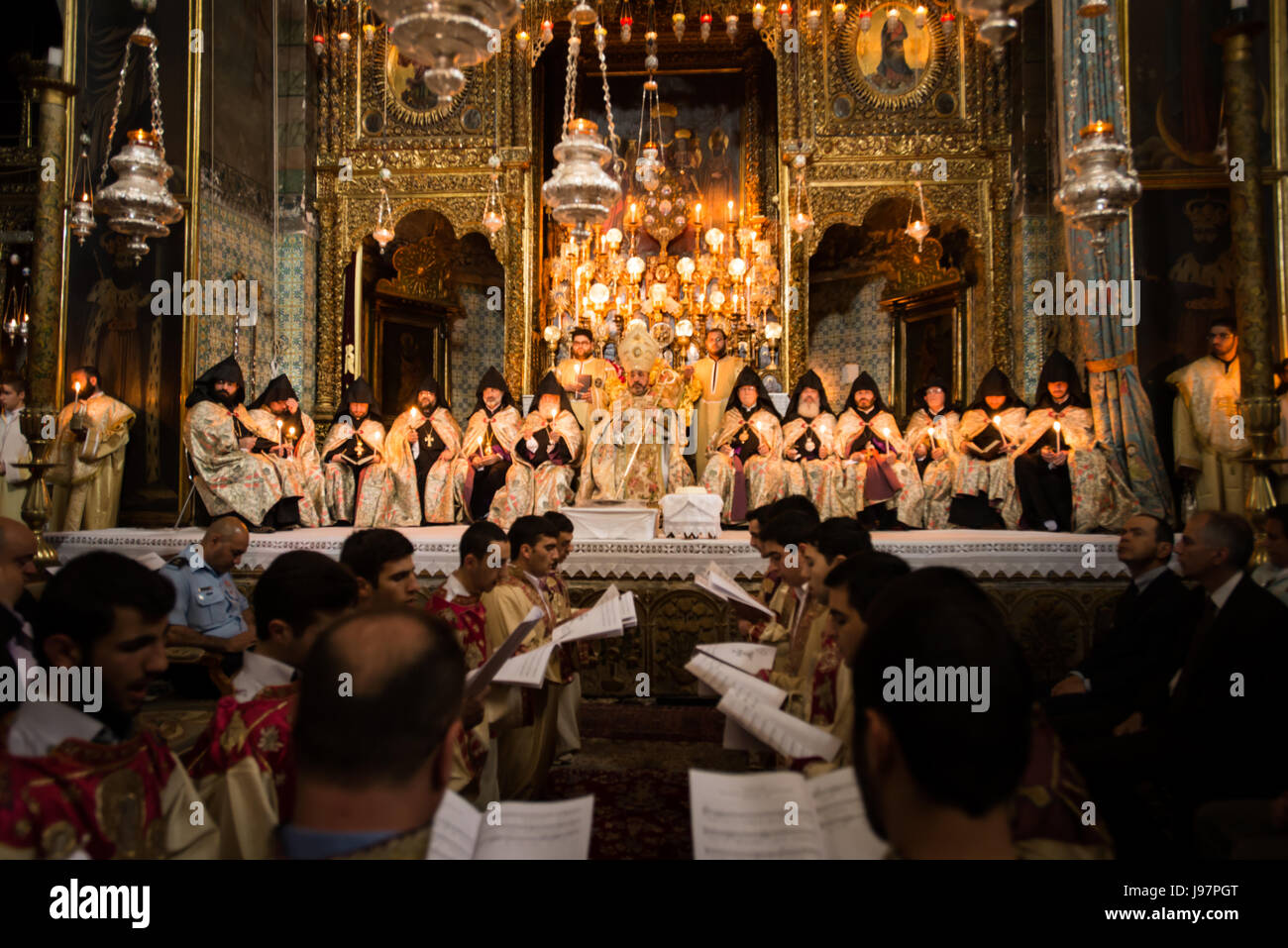 Armenian Patriarch of Jerusalem, Nourhan Manougian, leads a special Maundy Thursday mass in the Cathedral of St. Stock Photo