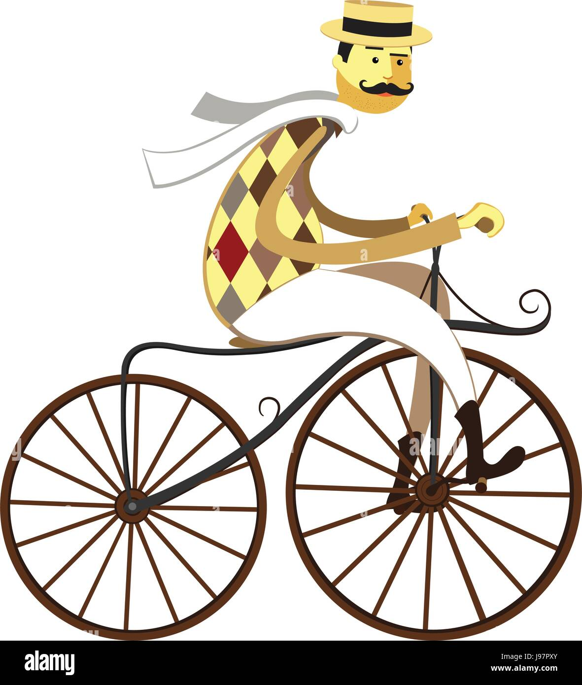 Frenchman cyclist and American Velocipede -  retro bicycle isolated on white background. Vector illustration - Stock Image