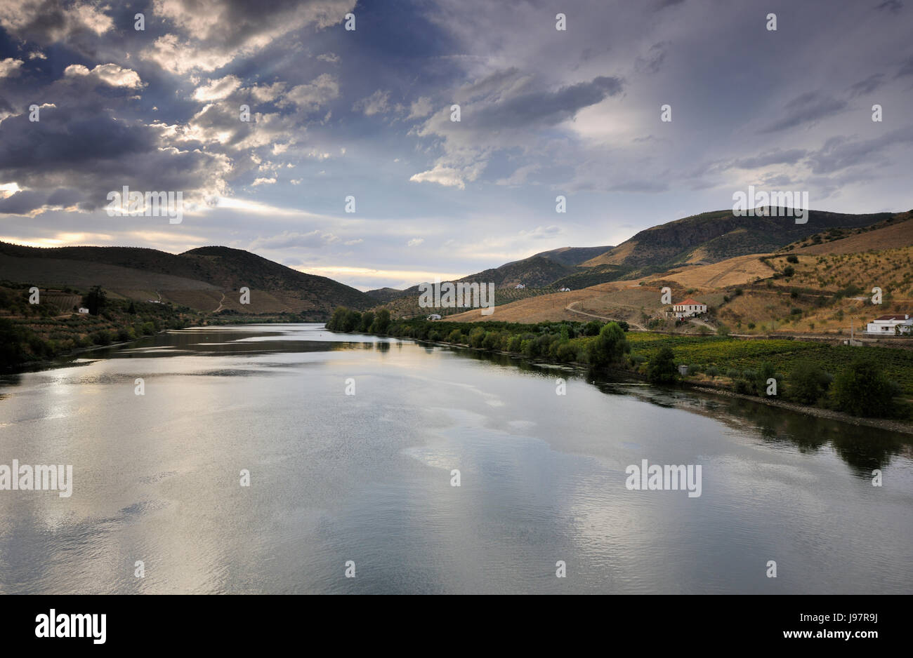 The Douro river at Barca d' Alva, Alto Douro. Portugal Stock Photo