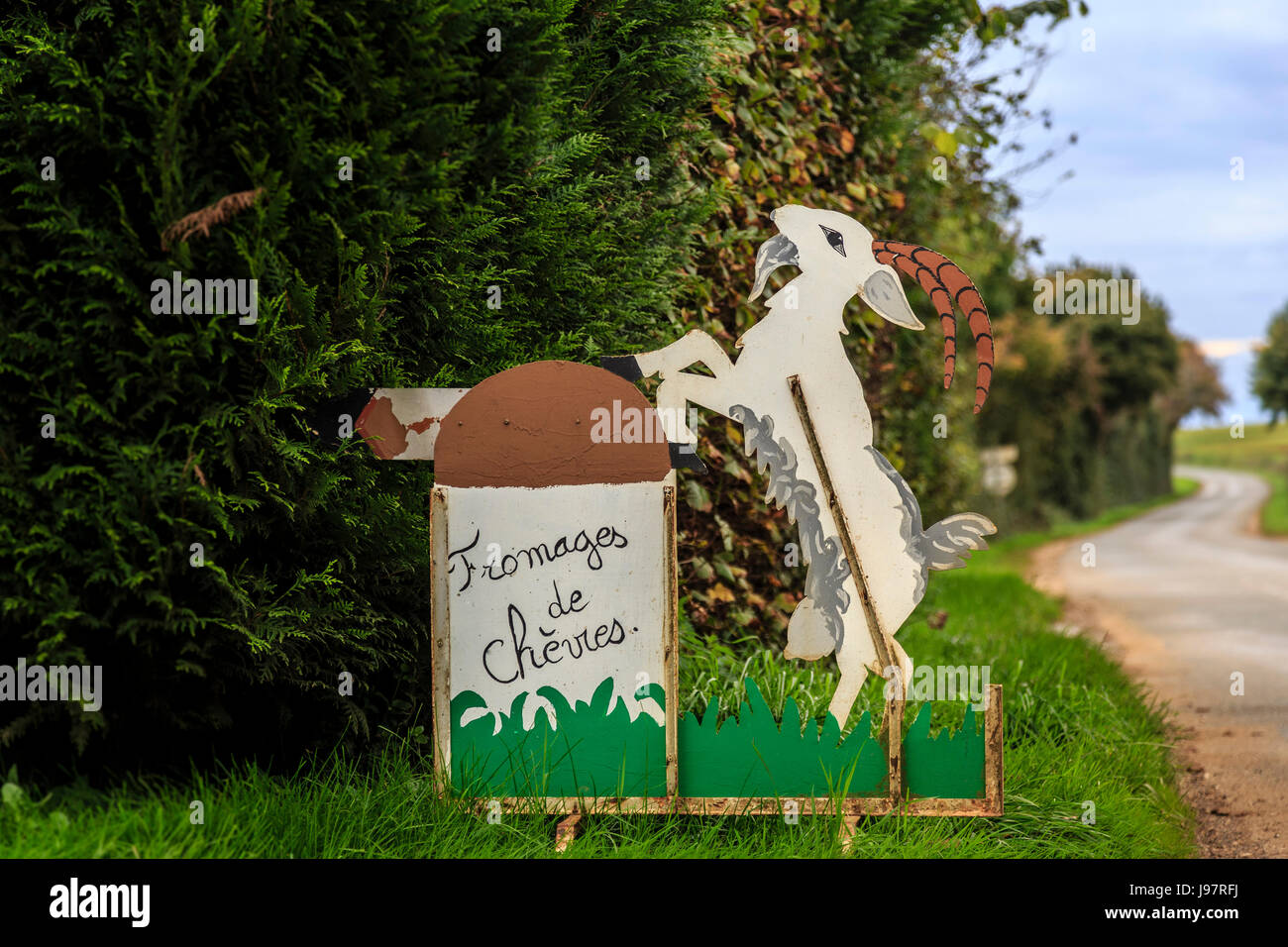 France, Cher, Menetou-Ratel, chevrerie or goat shed sign - Stock Image