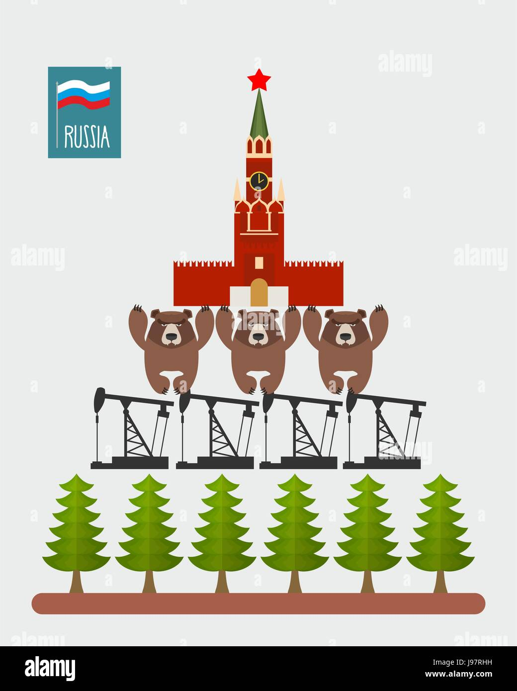 Structure Russia. Moscow Kremlin is based on  three bears. Bears stand on oil rigs. Oil pumps are on forest. Infographic - Stock Vector