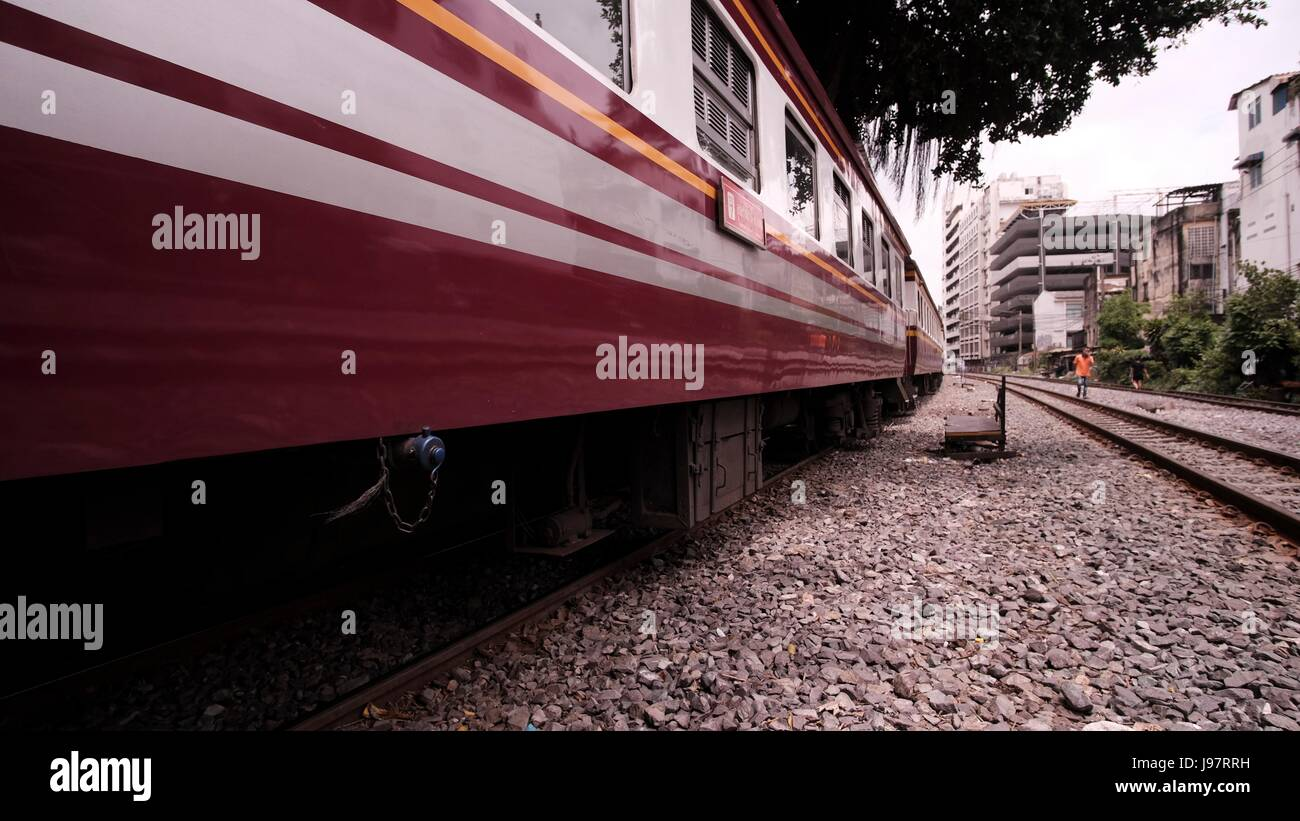 1K Out of Bangkok Train Station Hua Lamphong Rail Yard SRT Thailand - Stock Image