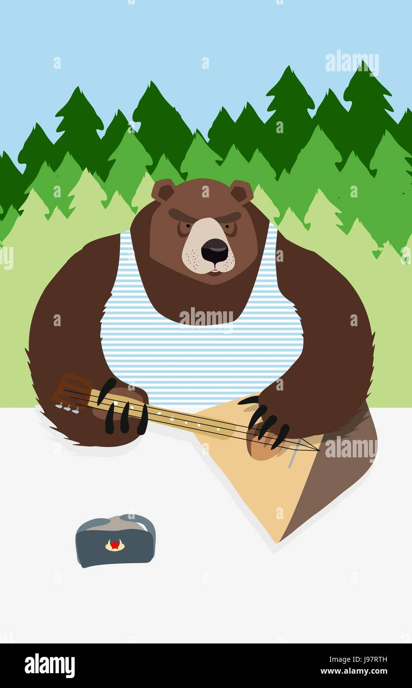 russian bear russian flag animal playing on the musical instrument bear symbol USSR - Stock Vector