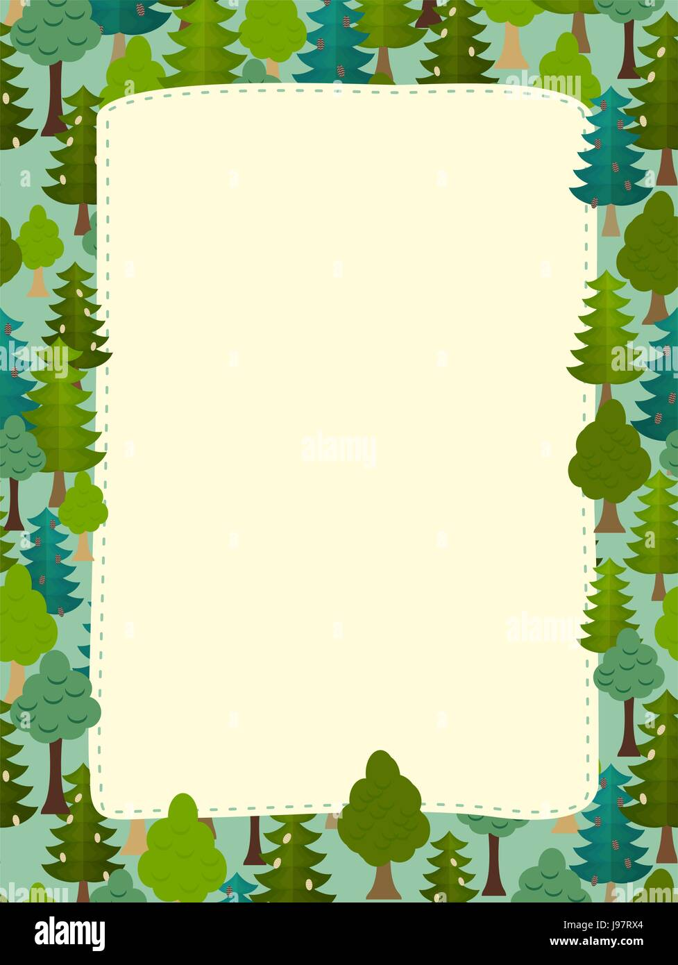 conifers pattern. Background of trees. Earth day Template with space for text - Stock Vector