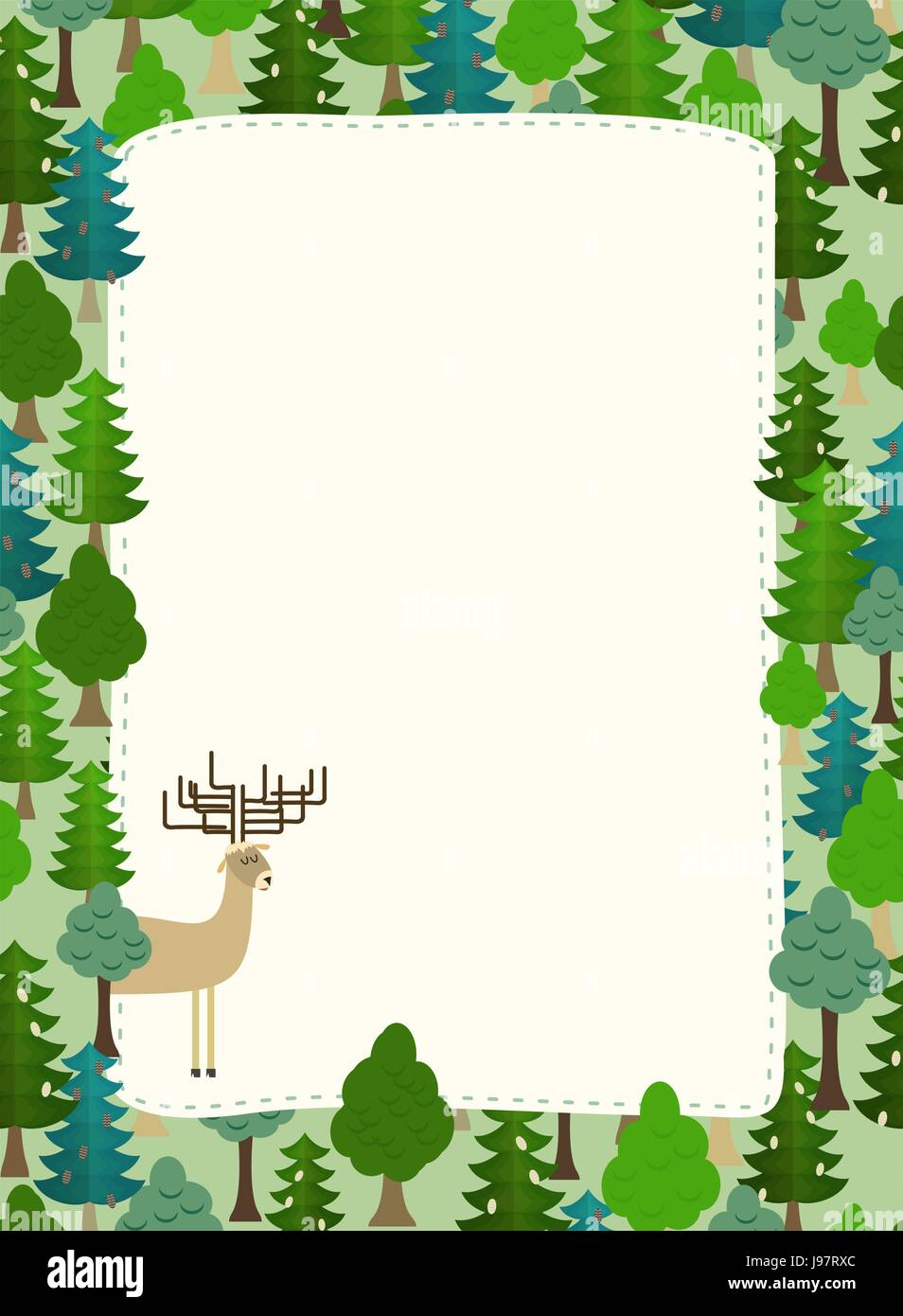 conifers pattern. Background of trees and deer. Earth day. Template with space for text - Stock Vector
