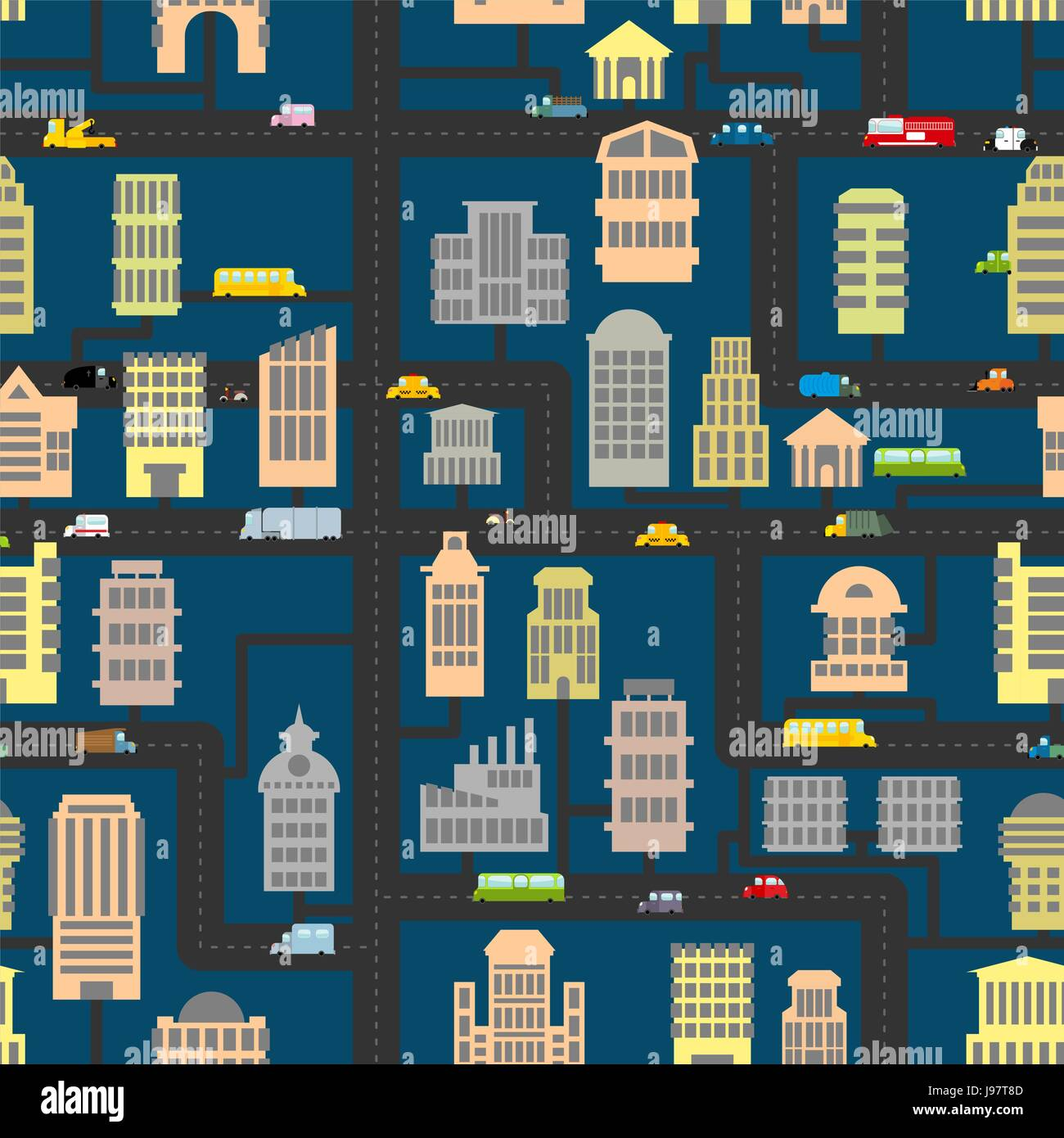 Night City Pattern Skyscrapers And Transportation Urban Seamless Background Infrastructure Homes Cars Texture Of Road Real Estate Public