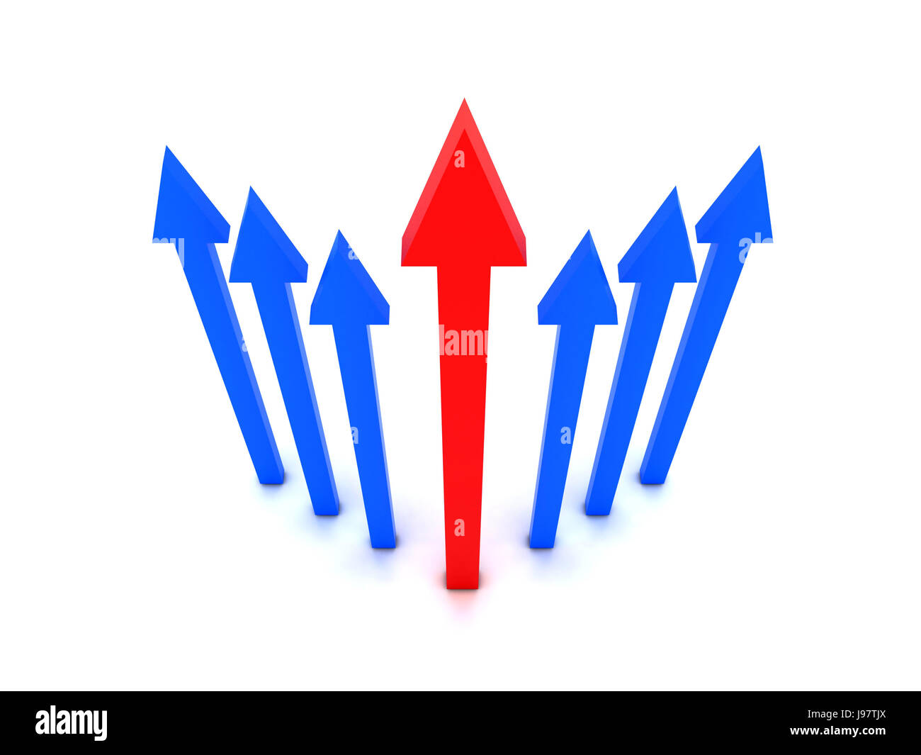 Rising blue arrows with red arrow in center. Concept 3D illustration. - Stock Image