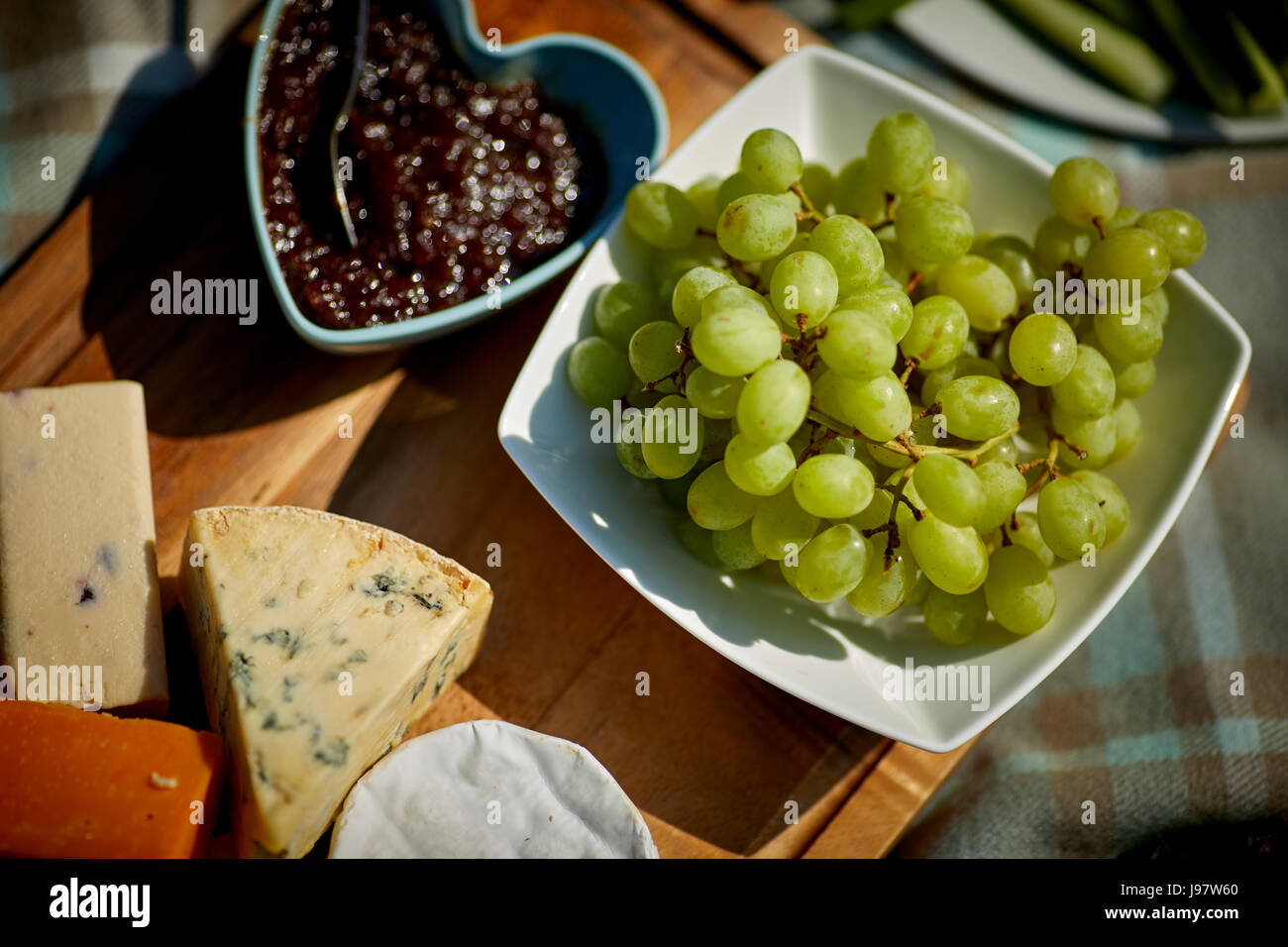 Traditional picnic food, with healthy options. - Stock Image