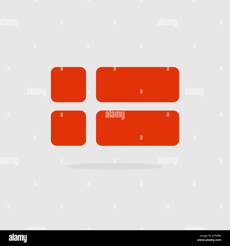 Denmark flag, a stylized Flag Danish of geometrical elements. Vector illustration - Stock Image