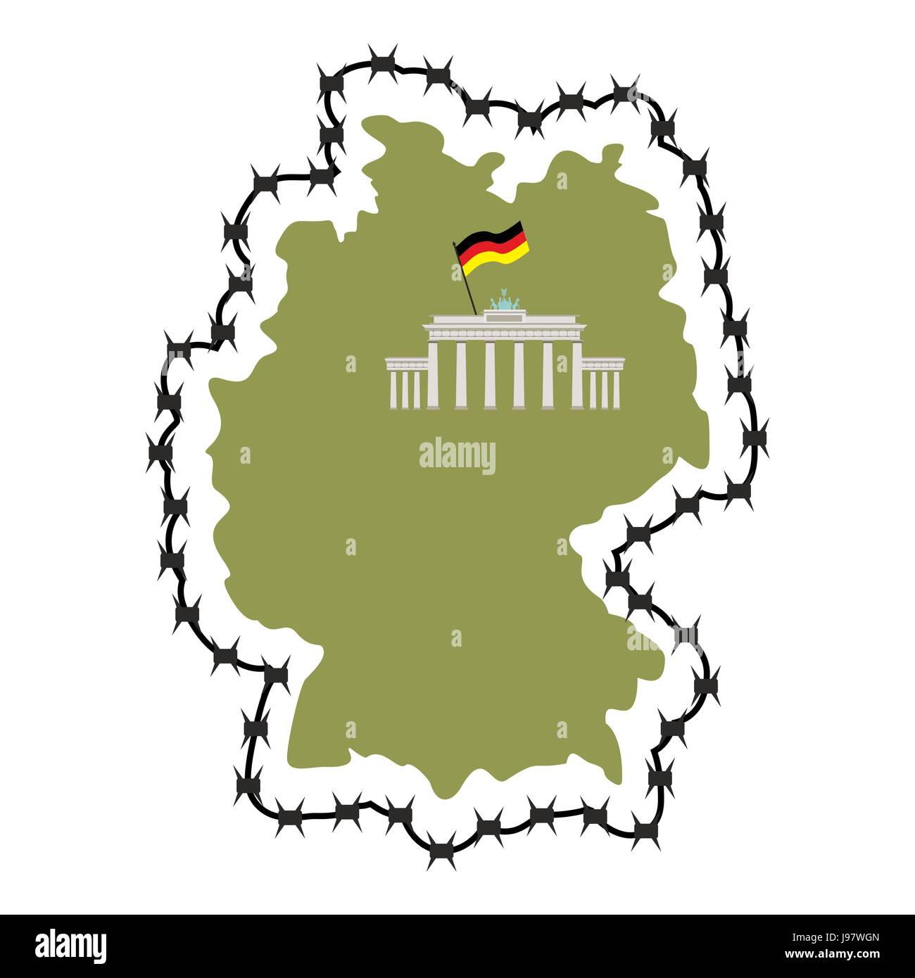 Map Of Germany. Map of States with barbed wire. Country closes ...