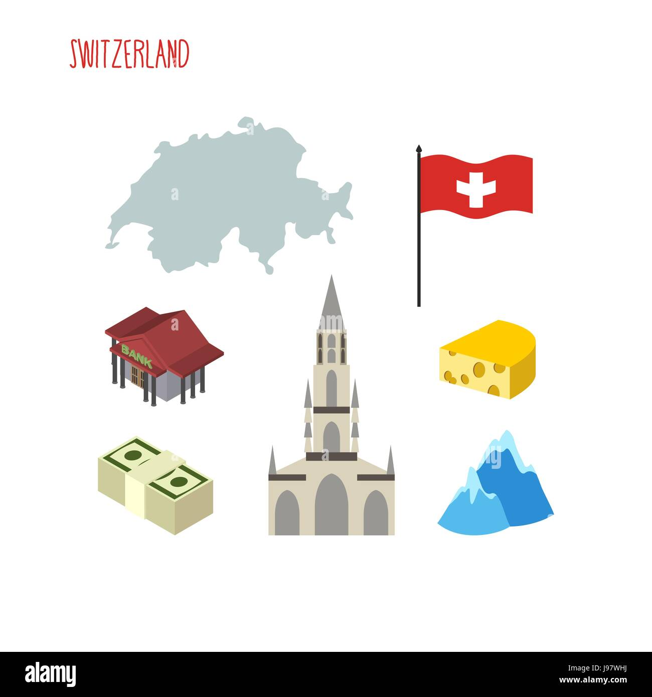 Set Of Icons For Switzerland Map And Flag Of Country Berne Stock
