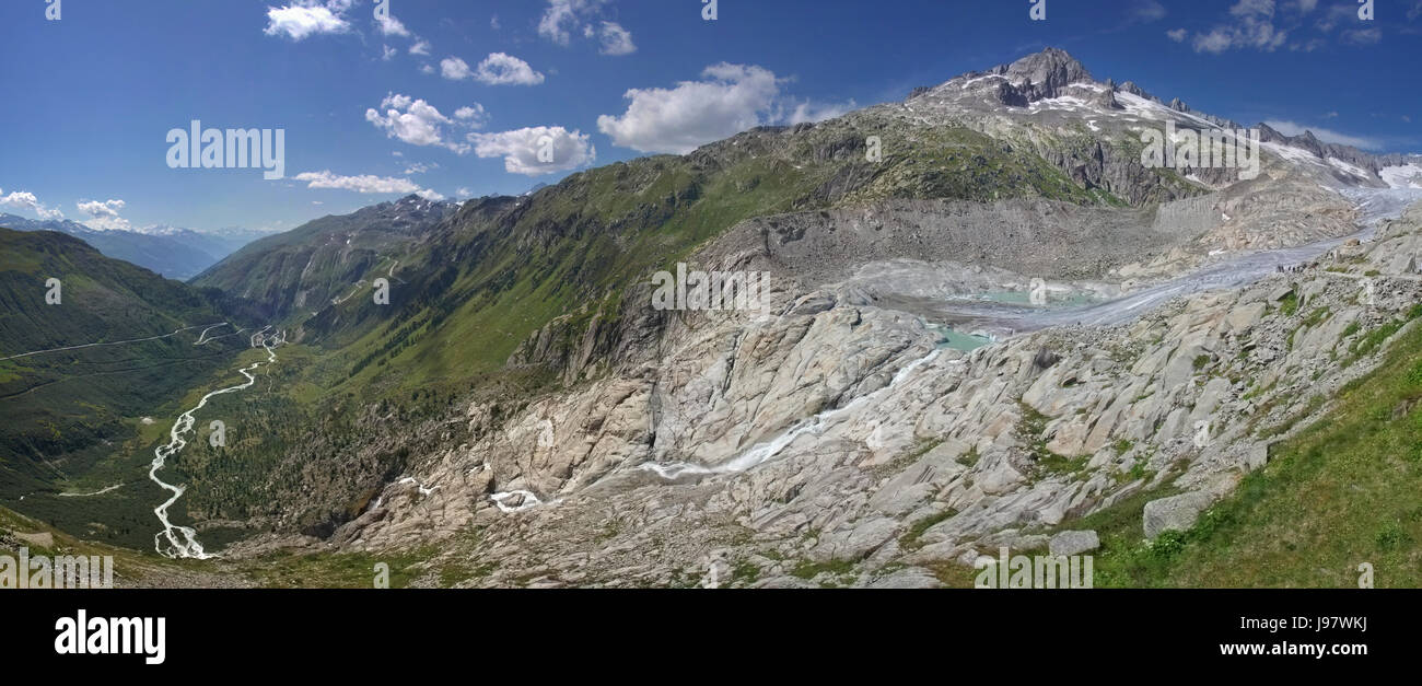 The Rhône Glacier: the source of the river (Panorama) Stock Photo