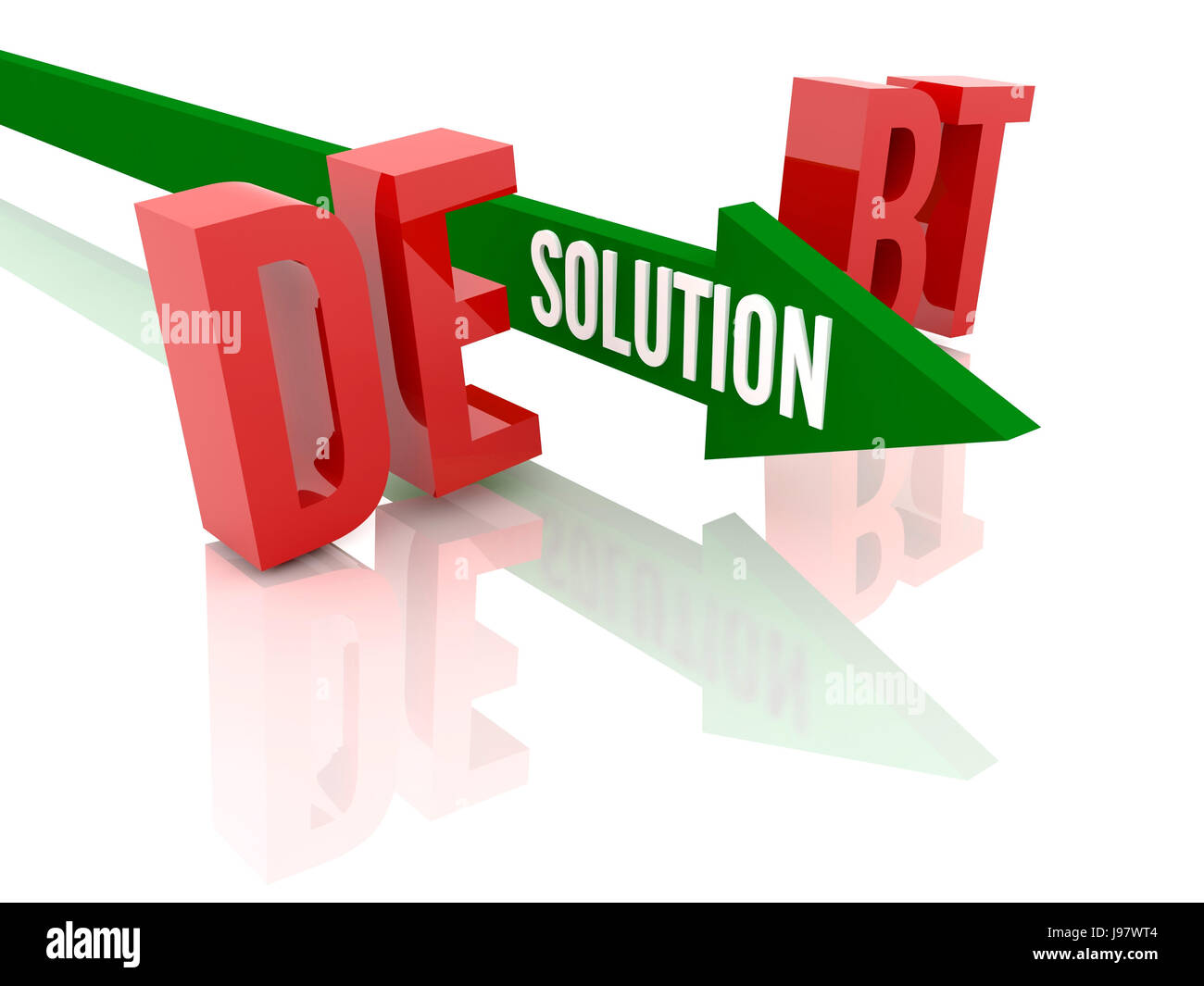 Arrow with word Solution breaks word Debt. Concept 3D illustration. - Stock Image