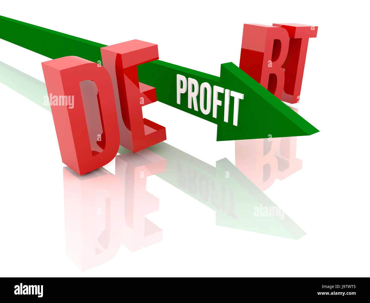 Arrow with word Profit breaks word Debt. Concept 3D illustration. - Stock Image