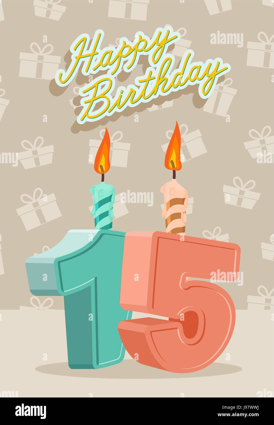 Birthday Candle Number 15 With Flame