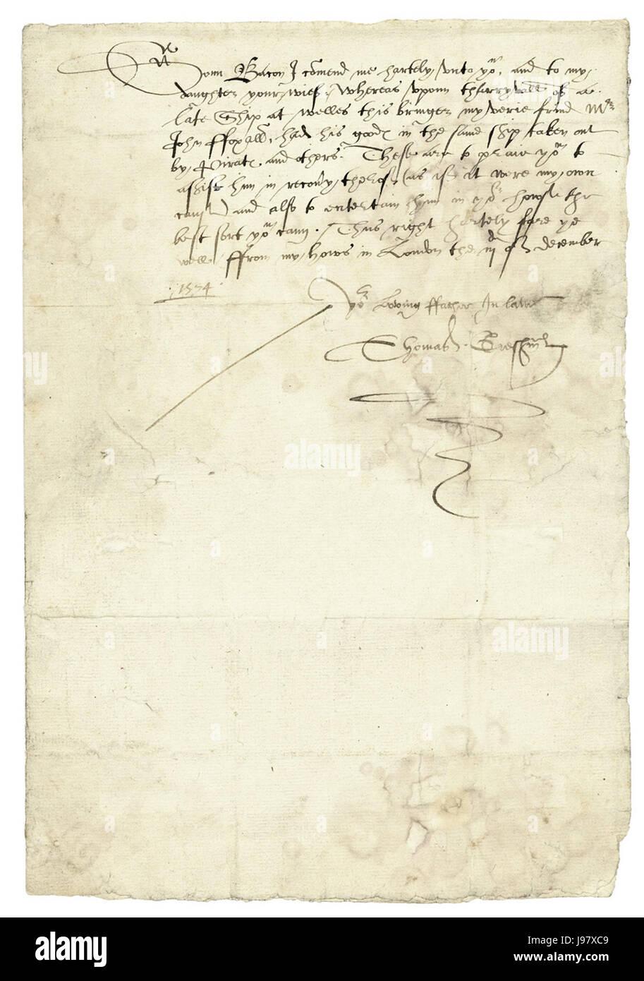 Thomas Gresham an Nathanael Bacon 1574 12 03 - Stock Image