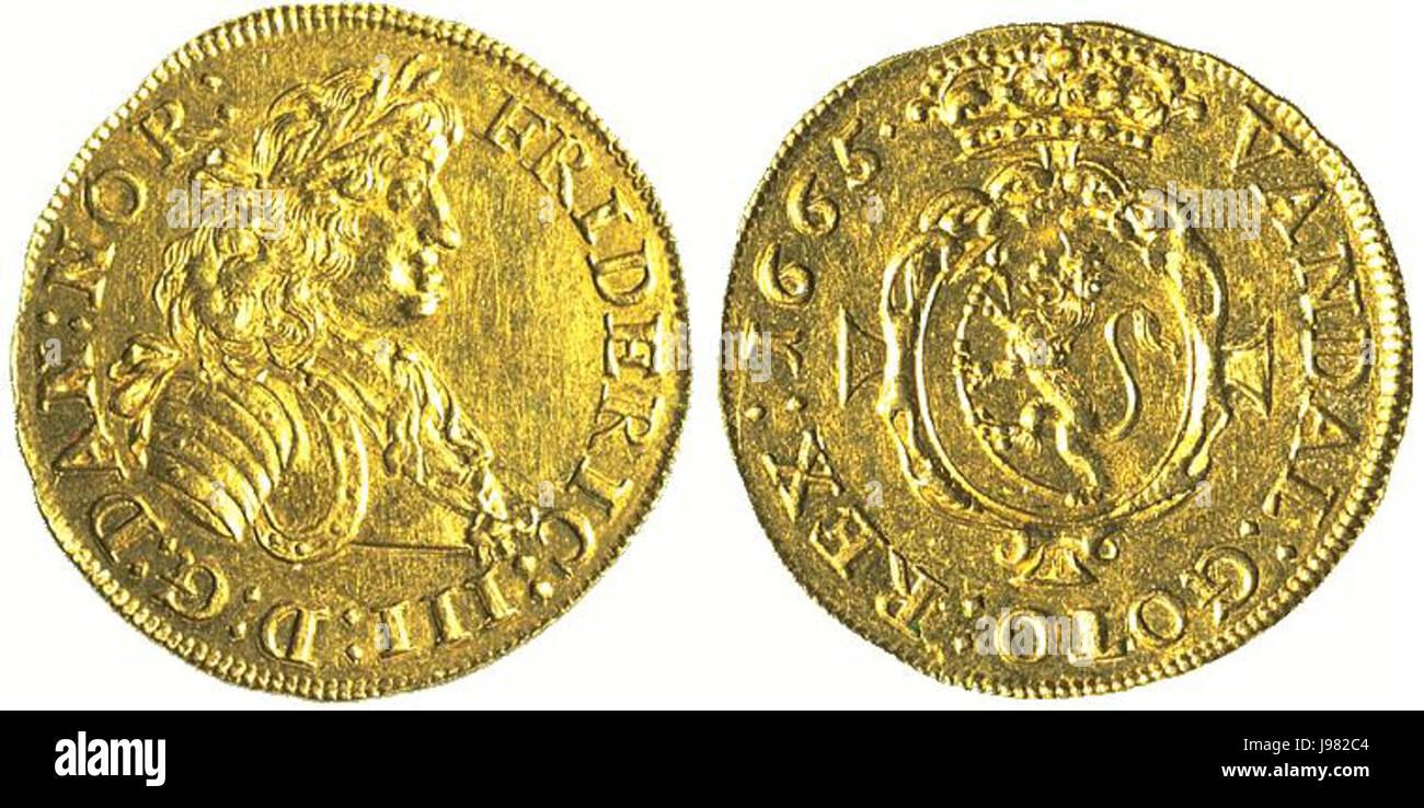 Norwegischer Dukat 1665 - Stock Image