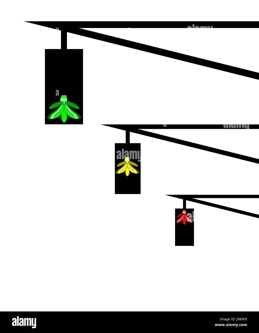 minimalistic vector - traffic light as fireflies Stock Vector