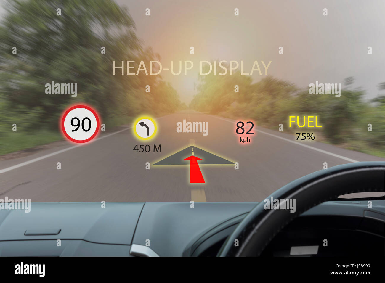 iot, internet of things smart car concepts, Head up display (HUD). Car use augmented reality to show the speed, - Stock Image