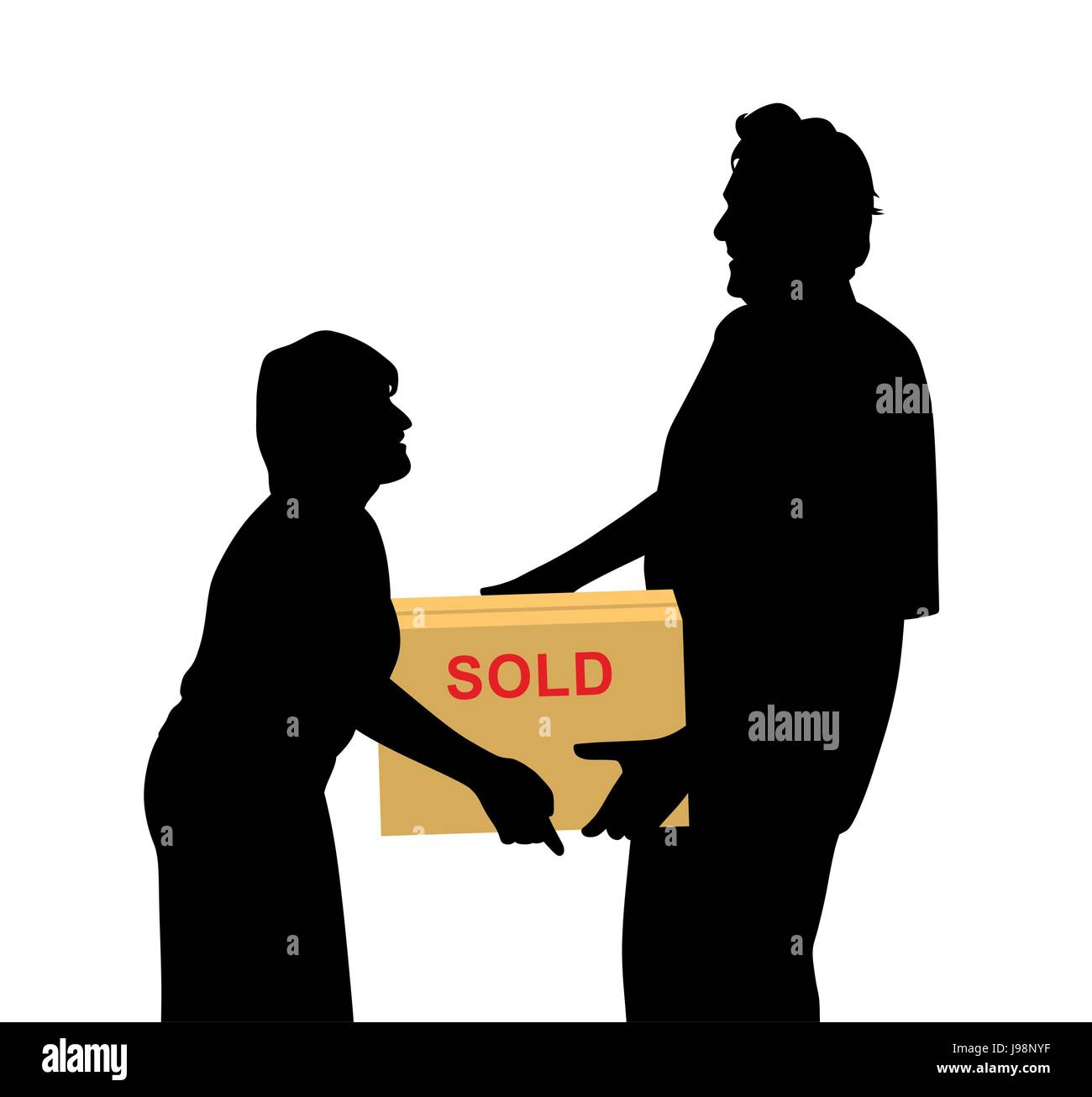 Happy buyers woman and man carrying something purchased and packed in a box - Stock Vector