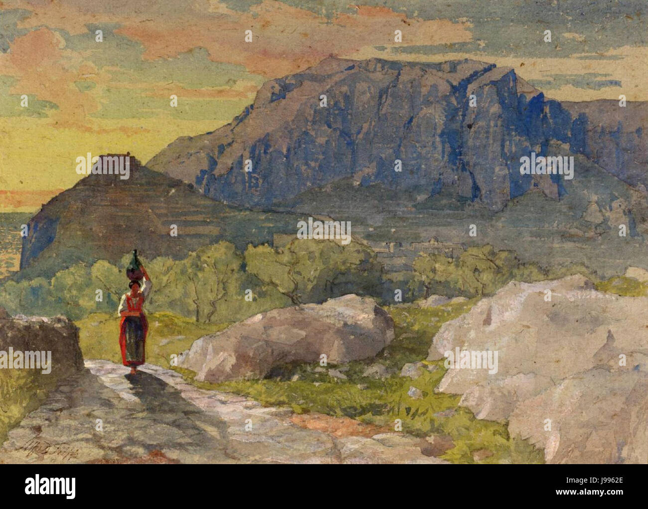 Peasant Woman in a Mountainous Landscape by Alfred Downing Fripp - Stock Image