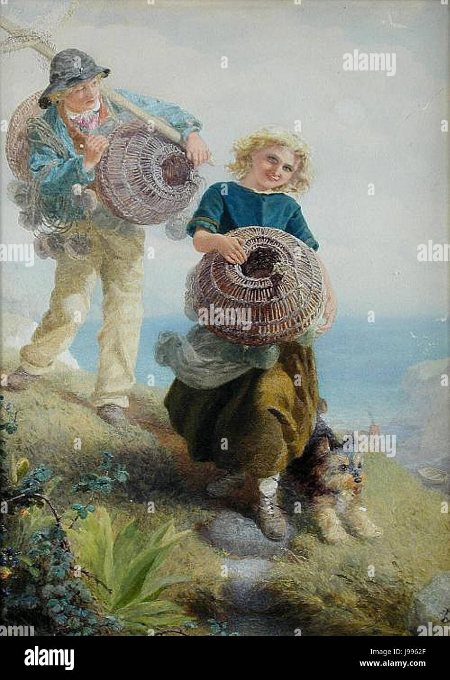 The Young Shrimpers by Alfred Downing Fripp - Stock Image