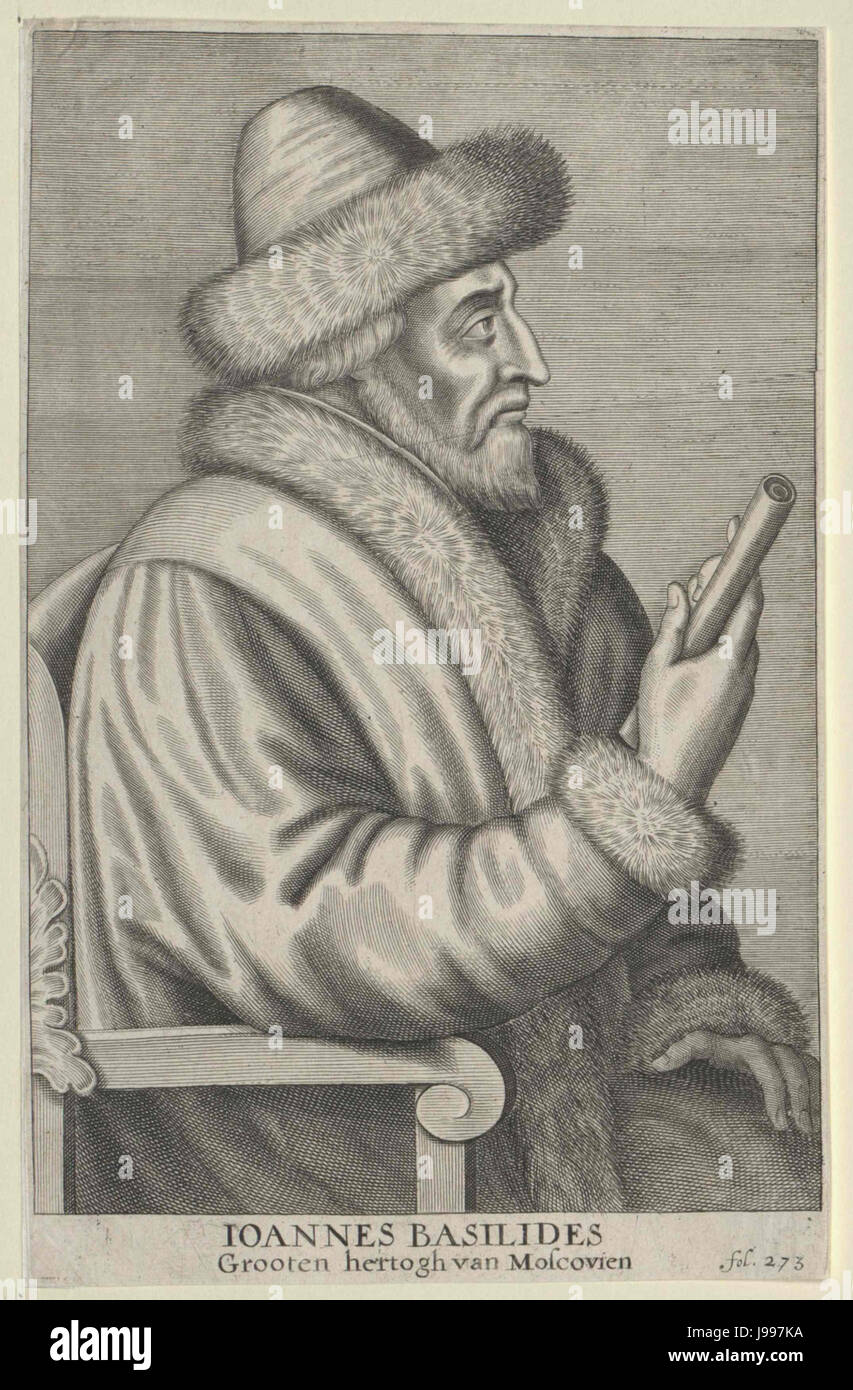 Profile portrait of Ivan IV of Russia (engraving) - Stock Image