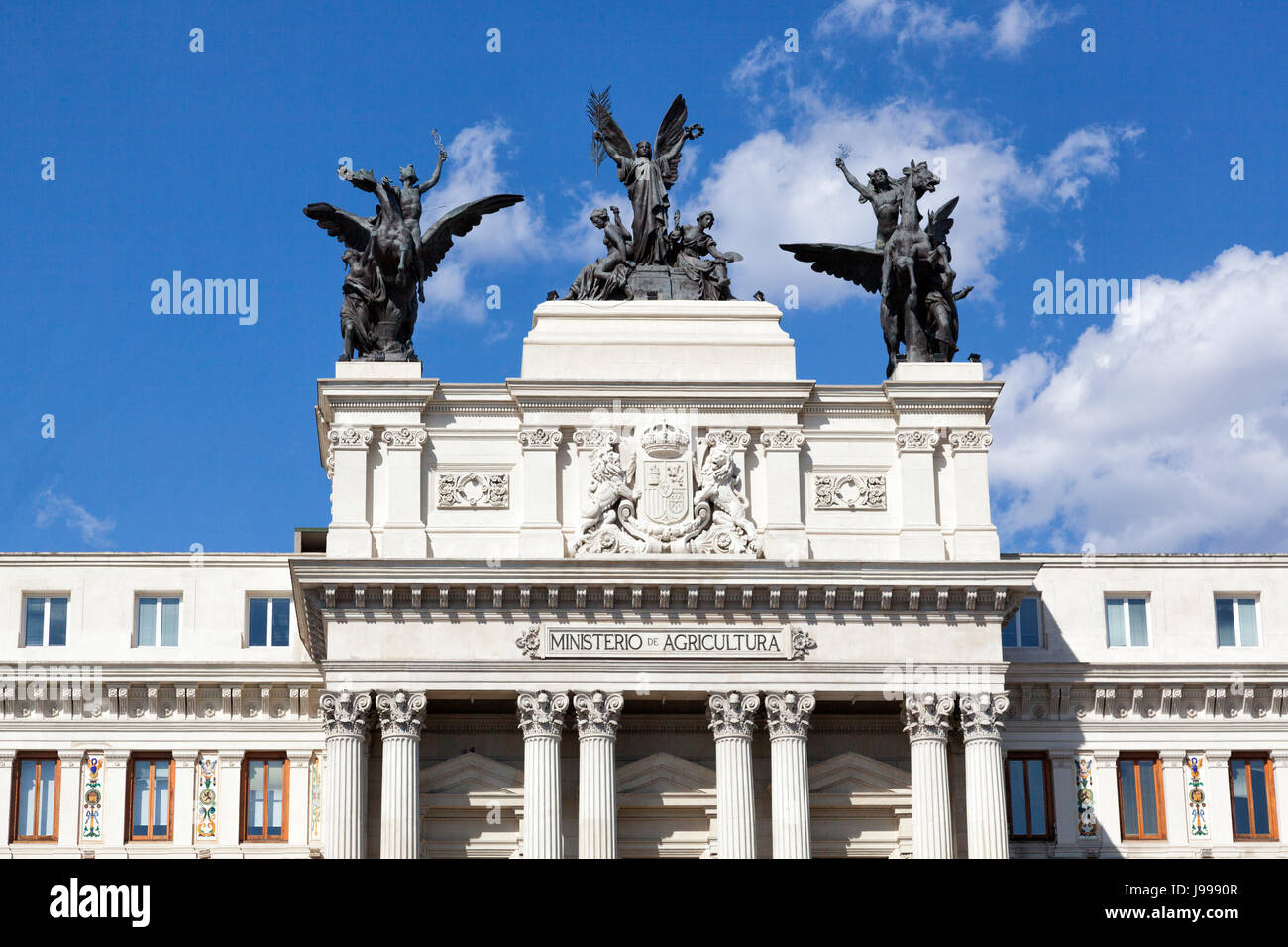 Detail of the Ministry of agriculture in Madrid - Stock Image