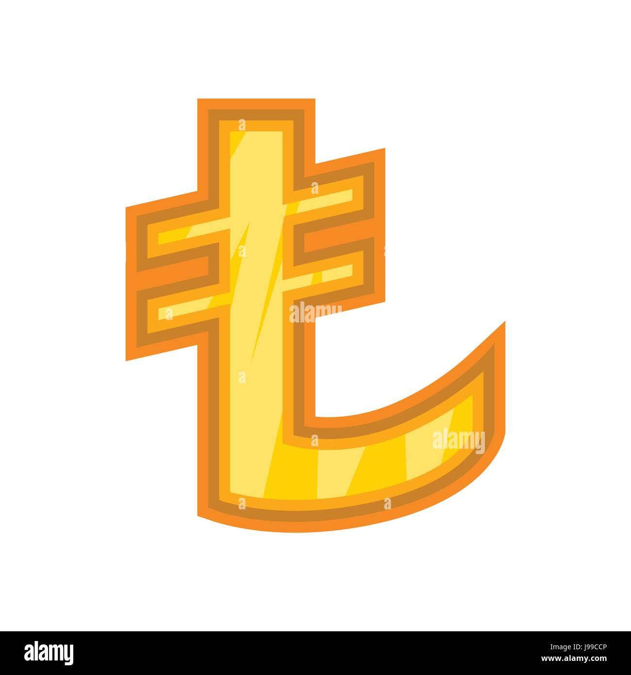 Turkish lira icon, cartoon style Stock Vector