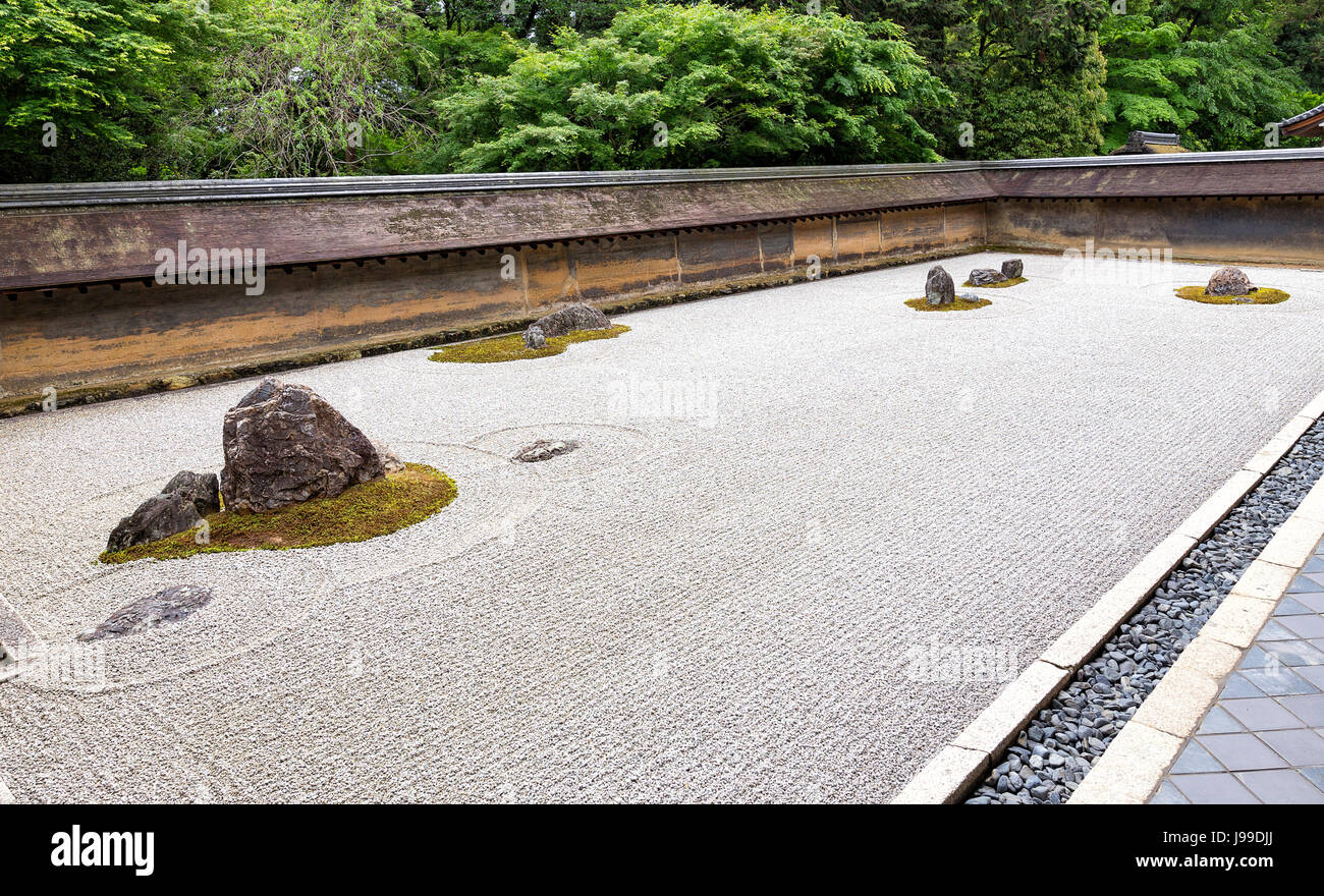 Vew ofJjapanese zen garden of Ryoan-ji temple in Kyoto - Stock Image