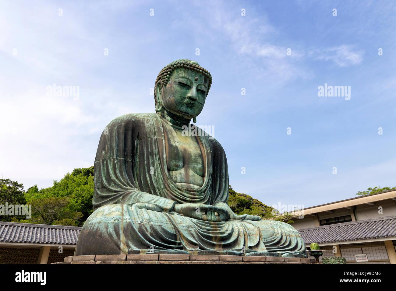Statue of Buddha at Kamakura Japan nr Tokyo - Stock Image