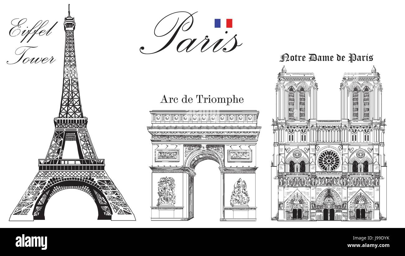 Vector eiffel tower triumphal arch and notre dame cathedral vector vector eiffel tower triumphal arch and notre dame cathedral vector hand drawing image thecheapjerseys Gallery