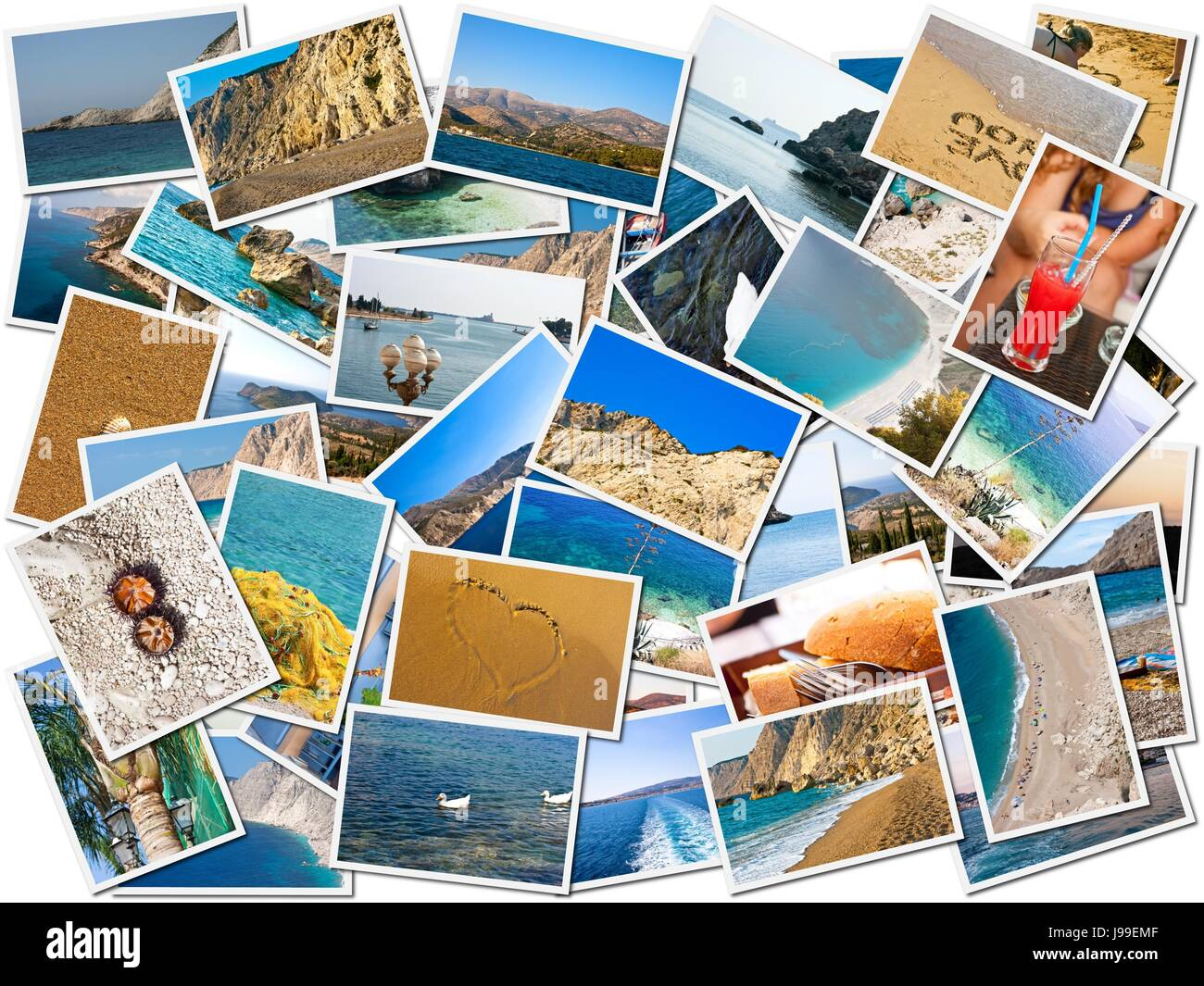 beach, seaside, the beach, seashore, photo, camera, collage, postcards, - Stock Image