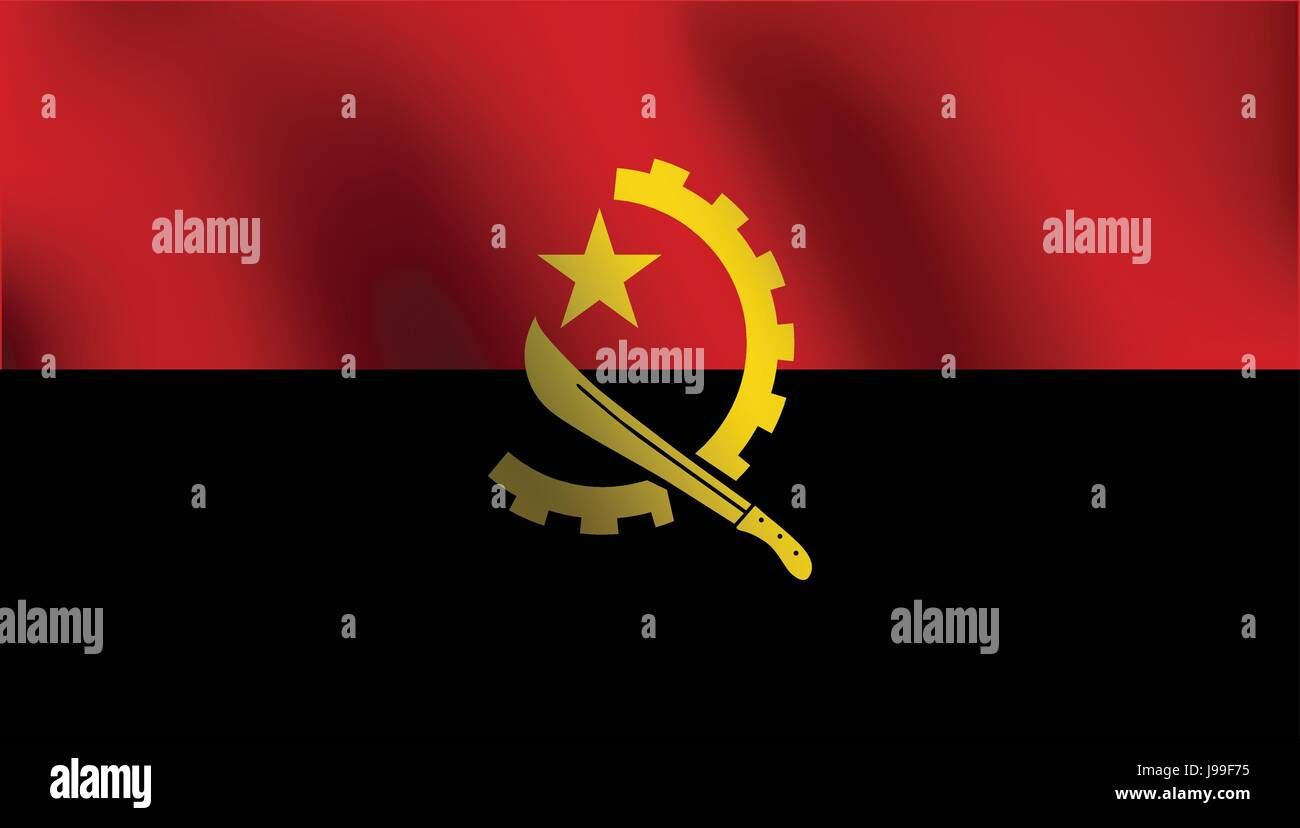 Flag of Angola with a little Waving, Shading & Flag Colors separated layers - Vector Illustration - Stock Vector