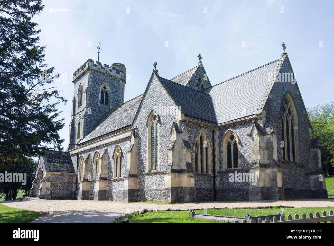 The Parish Church of Saint John the Evangelist, Church Lane, West Meon, Hampshire, England, United Kingdom - Stock Image