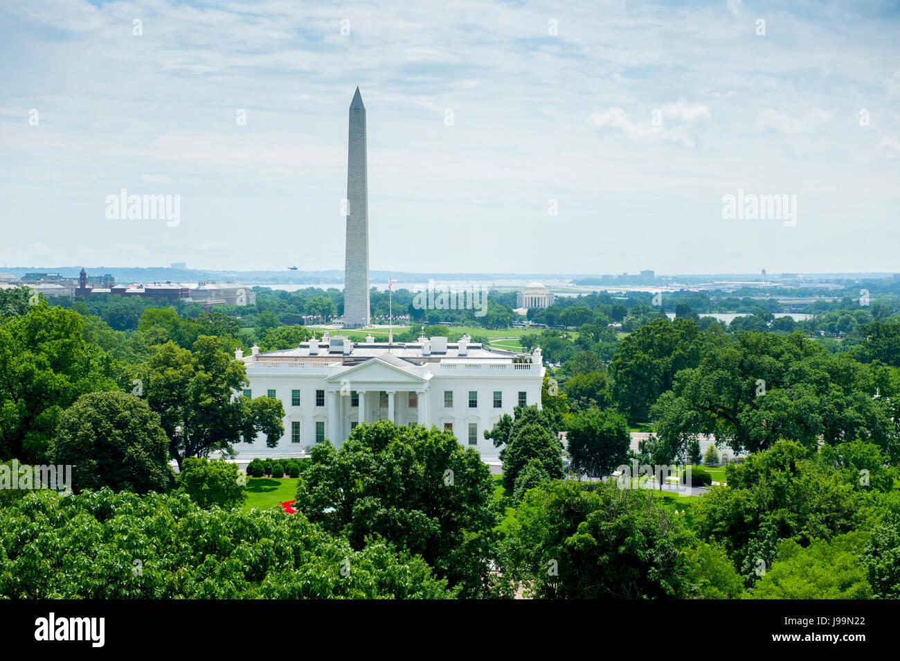 USA Washington DC Nations Capitol White House Washington Monument city skyline aerial - Stock Image