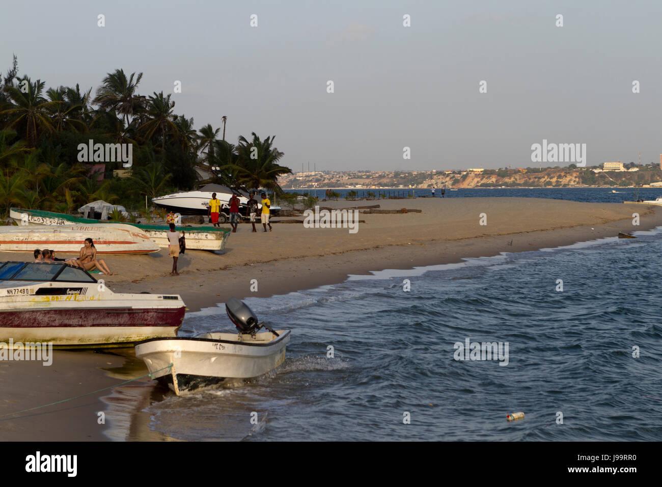 Boats in Mussulo island, Luanda Angola - Stock Image