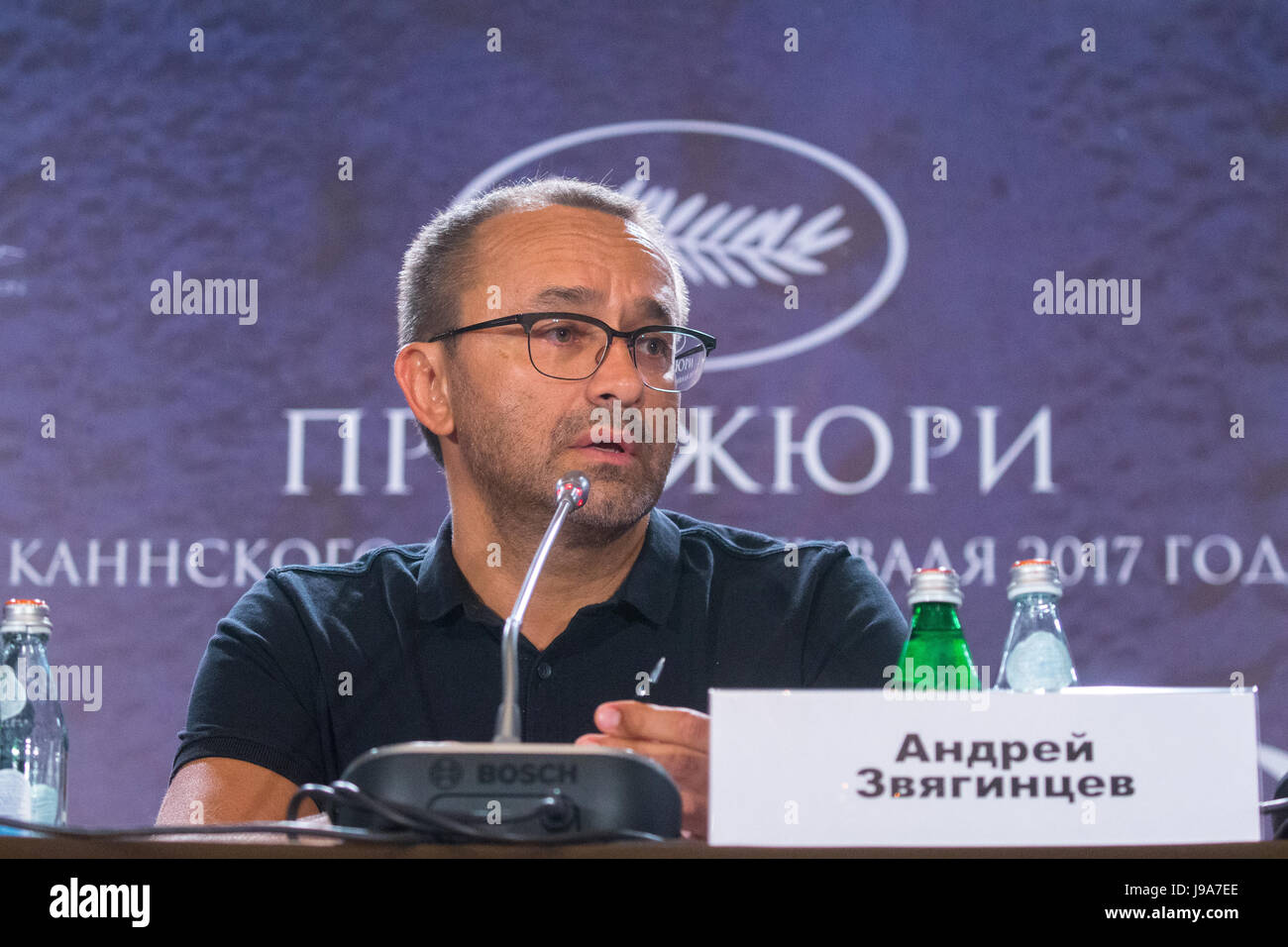 Moscow, Russia. 31nd May 2017. Film director Andrey Zvyagintsev gestures at a news conference on the premiere of - Stock Image