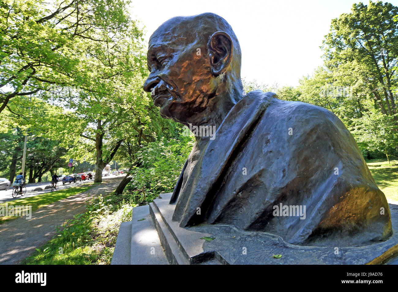 Hanover, Germany. 1st June, 2017. A bust of Indian independence movement leader Mohandas Karamchand Gandhi in Hanover, - Stock Image