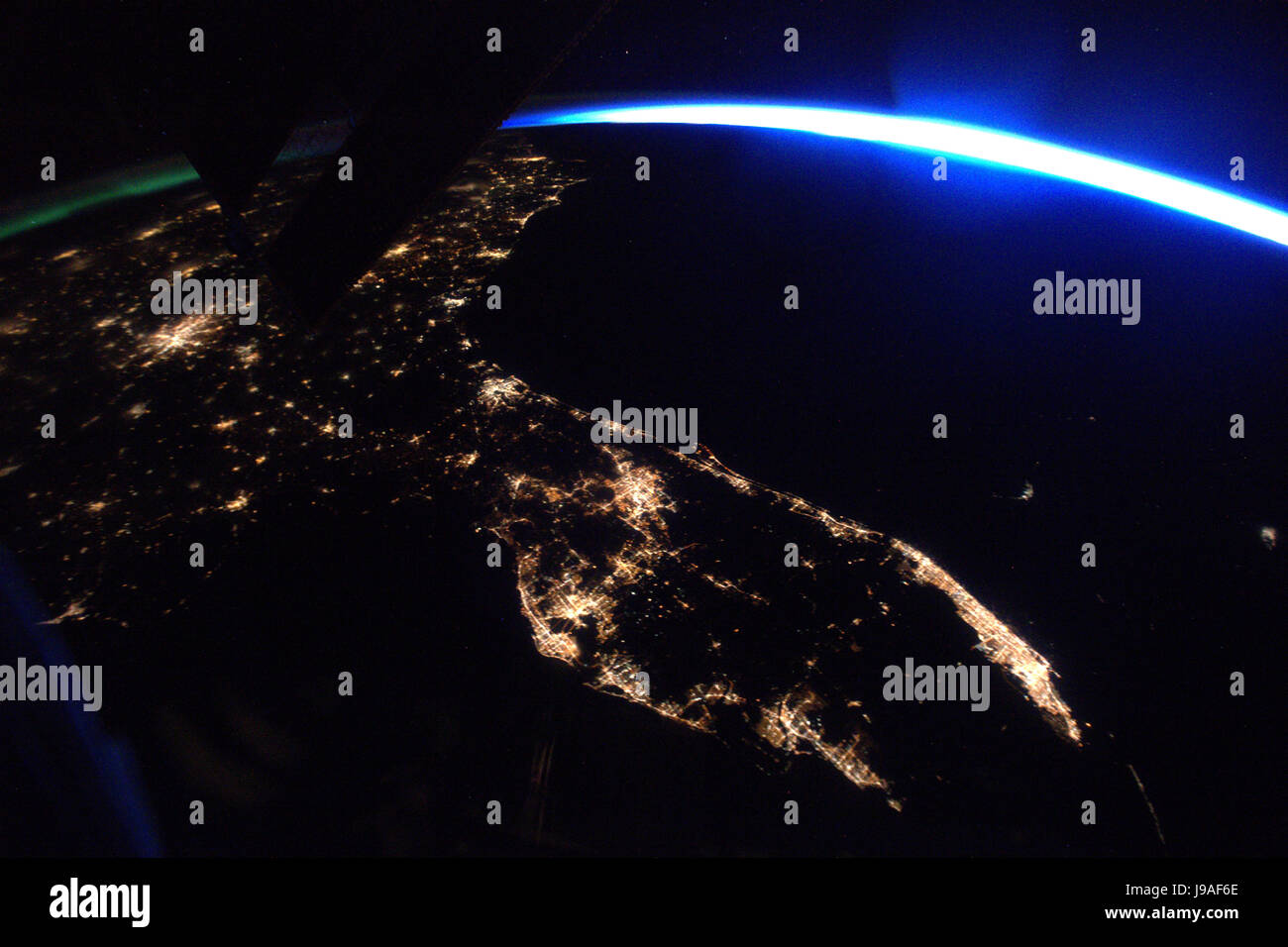 This nighttime photo of Florida was taken from the International Space Station by Expedition 51 Flight Engineer - Stock Image
