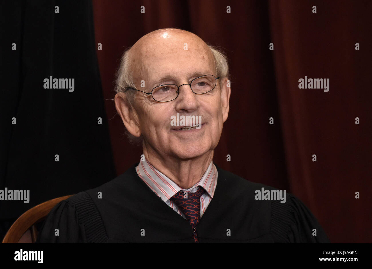 Associate Justice Stephen Breyer poses for a group photograph at the Supreme Court building on June 1 2017 in Washington, - Stock Image