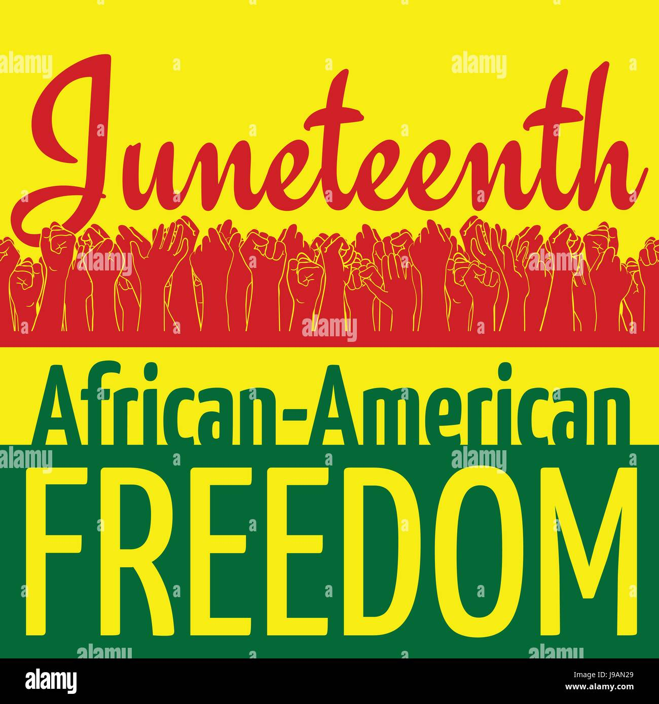 Juneteenth, African-American Independence Day, June 19. Day of freedom and emancipation. Colors of Pan-African flag. Yellow banner with horizontal sea Stock Vector Image & Art - Alamy