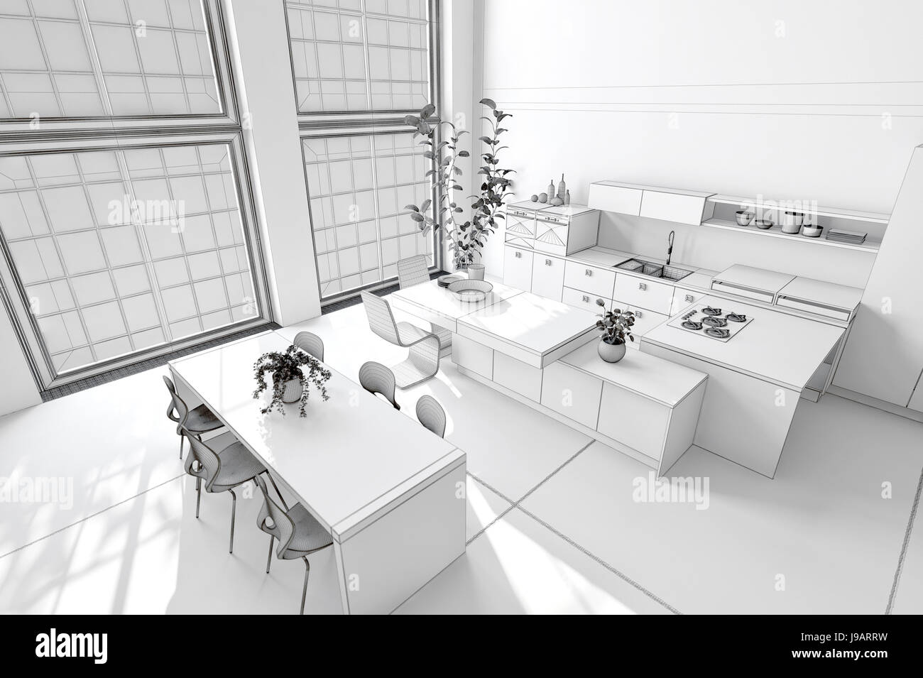 Fresh clean white kitchen and dining area with monochromatic decor, fitted cabinets and appliances and a modern Stock Photo