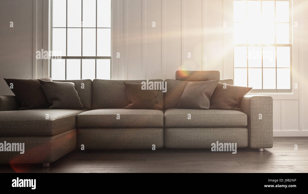 Superbe Bright Sunlight Flooding A Simple Living Room Interior With Minimalist  Decor Of A Large Comfortable Sofa In Front Of Two Windows. 3d Rendering